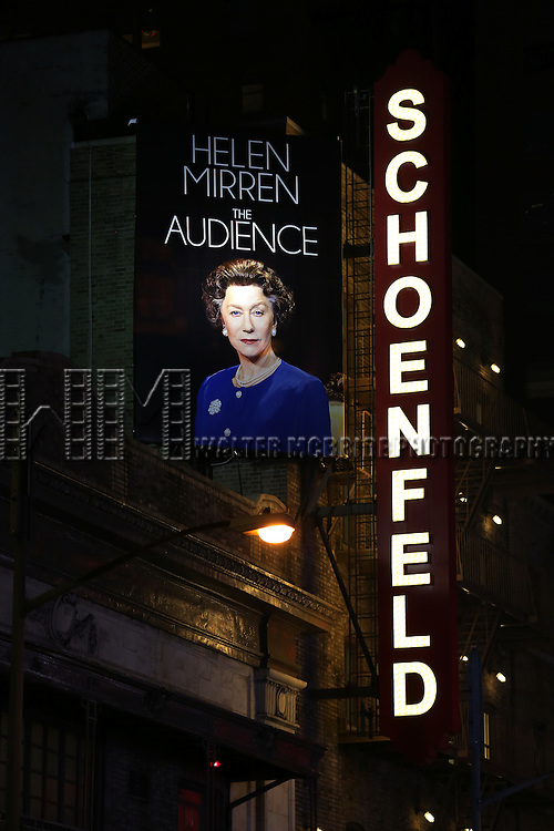 Theatre Marquee for the Broadway Opening night of 'The Audience' at the Gerald Schoenfeld Theatre on March 8, 2015 in New York City.
