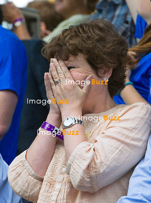 ADELE CAVENDISH AND PRIME MINISTER DAVID CAMERON<br /> were full of emotions as they watched Mark Cavendish compete in the Stage 1 of the 101st Tour de France in Yorkshire_05/07/2014<br /> Adele cheered and prayed for her son, but had to cover her eyes when in crashed.