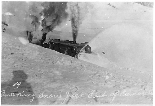 Rotary snowplow working in heavy snow just east of Cumbres station.<br /> D&amp;RG  e. of Cumbres Pass, CO  Taken by Lively, Charles R.