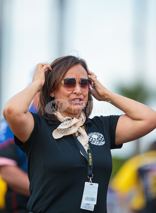 Mar 15, 2019; Gainesville, FL, USA; Monica Salinas reacts as daughter NHRA pro stock motorcycle rider Jianna Salinas (not pictured) races during qualifying for the Gatornationals at Gainesville Raceway. Mandatory Credit: Mark J. Rebilas-USA TODAY Sports
