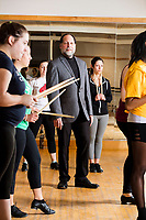 Ray Fahrner is the Director of the Office of Performing Arts at the Colleges of the Fenway in Boston, Massachusetts, USA. He is seen here posing for a portrait during a Tap Performance class at the Holmes Sports Center at Simmons College, one of the Colleges of the Fenway.