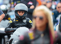 Mar 16, 2019; Gainesville, FL, USA; NHRA pro stock motorcycle rider Jianna Salinas during qualifying for the Gatornationals at Gainesville Raceway. Mandatory Credit: Mark J. Rebilas-USA TODAY Sports