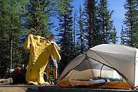 The Highline trail, Alberta and British Columbia, Canada, August 2008. Lake Magog Campground. The Banff Highline trail can be hiked in 7 days and runs through Banff National park as well as Assiniboine Provincial park. Photo by Frits Meyst/Adventure4ever.com