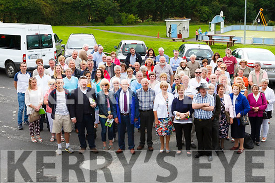 Large group gather in the Town Park to attend the Abbeyfeale Heritage Day Tour.