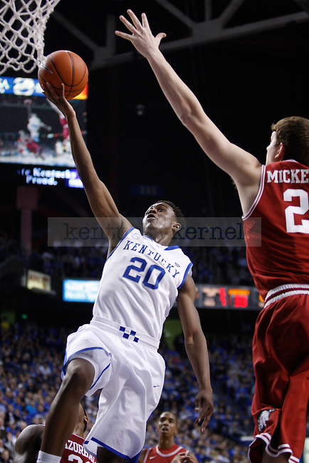 UK's Doron Lamb lays the ball up against Arkansas at Rupp Arena on Tuesday, Jan. 17, 2012. Photo by Scott Hannigan | Staff