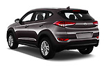 Car pictures of rear three quarter view of a 2018 Hyundai Tucson Premium 5 Door SUV angular rear