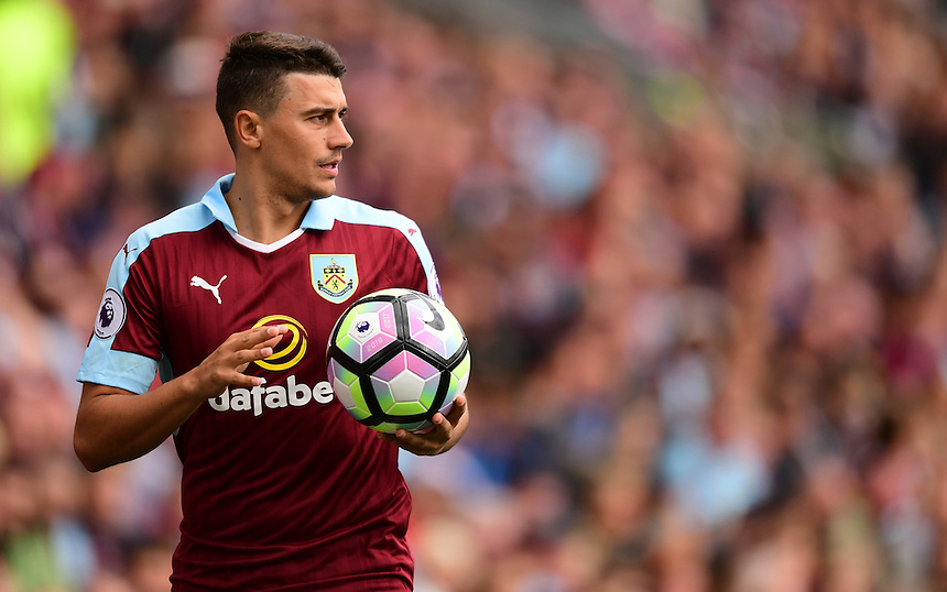 Burnley's Matthew Lowton<br /> <br /> Photographer Chris Vaughan/CameraSport<br /> <br /> Football - The Premier League - Burnley v Swansea City - Saturday 13th August 2016 - Turf Moor - Burnley<br /> <br /> World Copyright &copy; 2016 CameraSport. All rights reserved. 43 Linden Ave. Countesthorpe. Leicester. England. LE8 5PG - Tel: +44 (0) 116 277 4147 - admin@camerasport.com - www.camerasport.com