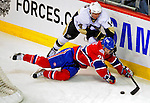 3 February 2009: Montreal Canadiens' defenseman Josh Gorges takes a tumble behind his net against the Pittsburgh Penguins in the first period at the Bell Centre in Montreal, Quebec, Canada. The Canadiens defeated the Penguins 4-2. ***** Editorial Sales Only ***** Mandatory Photo Credit: Ed Wolfstein Photo