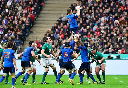 13.02.2016. Stade de France, Paris, France. 6 Nations Rugby international. France versus Ireland.  Paul Jedrasiak ( France )  wins the line-out