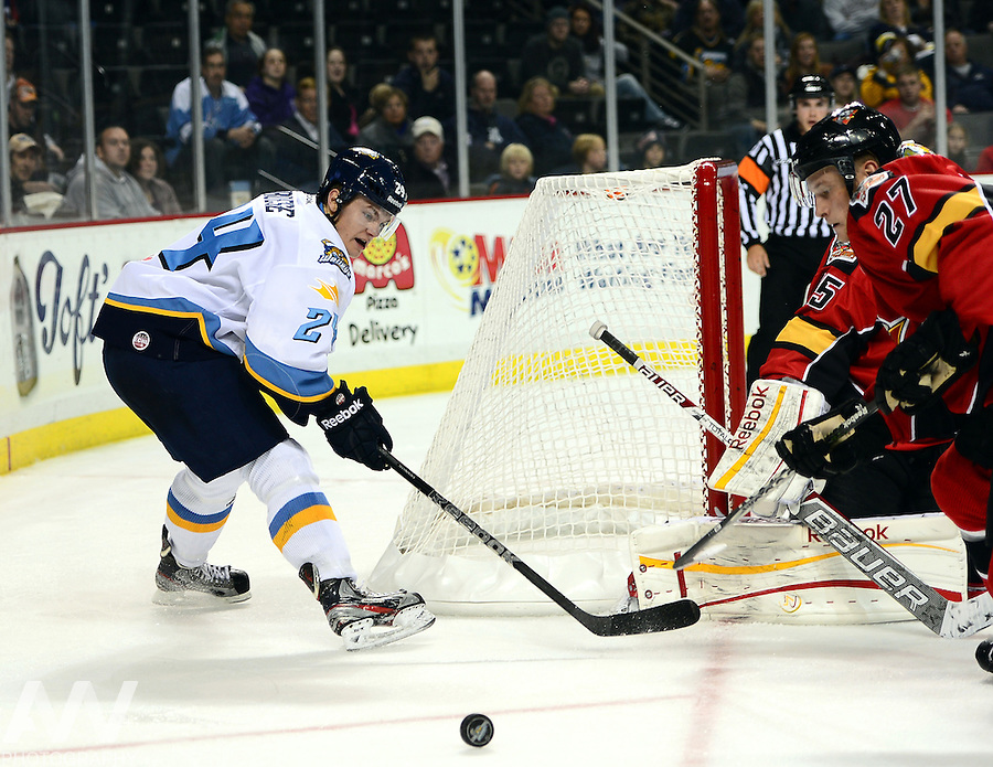 Oct 19, 2012; Toledo, OH, USA; Toledo Walleye center Byron Froese (24) against the Cincinnati Cyclones at Huntington Center: Mandatory Credit: Andrew Weber