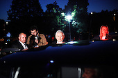 WARSAW, POLAND, JUNE 13, 2010:.Jaroslaw Kaczynski and his aidees heading back to their car..Debate between the presidential candidates in a Polish TV..(Photo by Piotr Malecki / Napo Images)..WARSZAWA, 12/06/2010:.Jaroslaw Kaczynski i jego ludzie wracaja do samochodu. Debata miedzy kandydatami w TVP 1.Fot: Piotr Malecki / Napo Images.