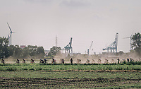 racing in the dust with the Antwerp Harbour as a backdrop<br /> <br /> 92nd Schaal Sels 2017 <br /> 1 Day Race: Merksem > Merksem (188km)