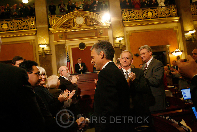Utah Gov. Jon Huntsman shakes hands before delivering his State of the State address to a joint session of the legislature Tuesday, Jan. 22, 2008, in Salt Lake City. .Chris Detrick/The Salt Lake Tribune