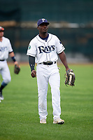 Princeton Rays left fielder Tony Pena (7) warms up before the second game of a doubleheader against the Greeneville Reds on July 25, 2018 at Hunnicutt Field in Princeton, West Virginia.  Greeneville defeated Princeton 8-7.  (Mike Janes/Four Seam Images)