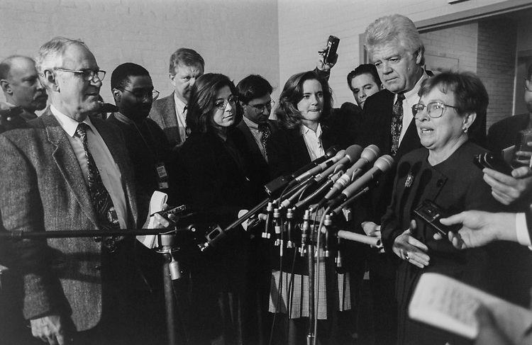 Ethics Chairman/Vice Chairman, Rep. Nancy Johnson, R-Conn., and Rep. Jim McDermott, D-Wash., talk to reporters after Ethics Committee meeting on Dec. 07, 1995. (Photo by Maureen Keating/CQ Roll Call via Getty Images)