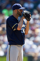 Milwaukee Brewers pitcher Mike Fiers #64 looks in for the sign during the Major League Baseball game against the Chicago White Sox on June 24, 2012 at US Cellular Field in Chicago, Illinois. The White Sox defeated the Brewers 1-0 in 10 innings. (Andrew Woolley/Four Seam Images).