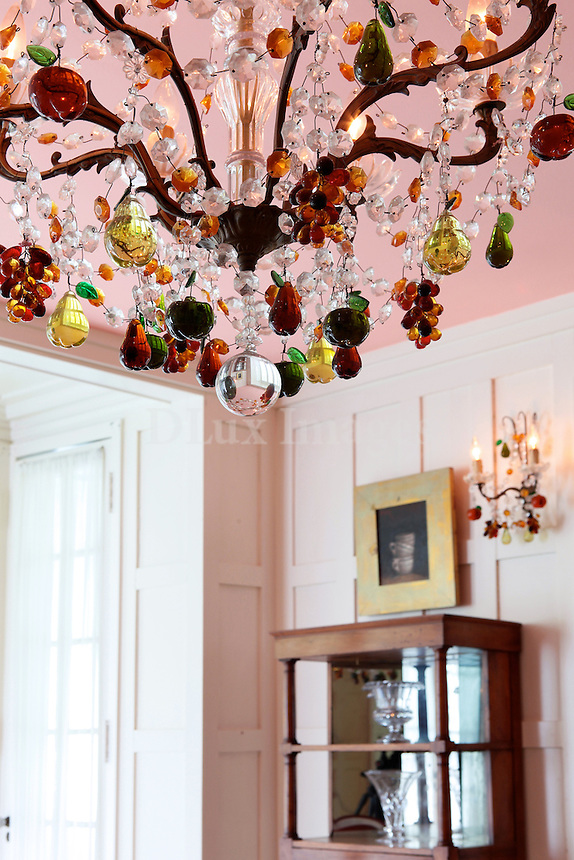 crystal chandelier with colorful ornaments
