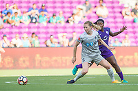 Orlando, FL - Sunday May 14, 2017: Samantha Mewis, Jamia Fields during a regular season National Women's Soccer League (NWSL) match between the Orlando Pride and the North Carolina Courage at Orlando City Stadium.
