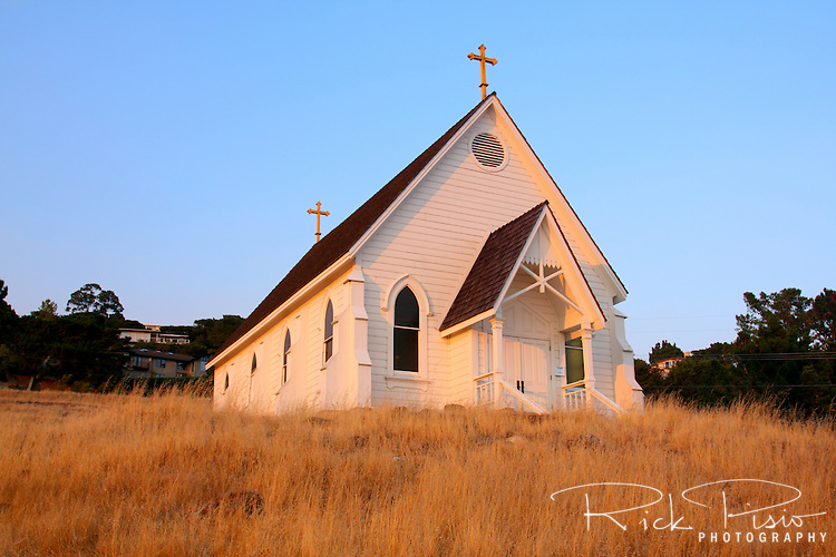 Old St.Hilary's church stands atop a hillside in Tiburon, California. Built in 1888 as a place of worship for local railroad workers the building is one of the few remaining Carpenter Gothic churches to survive in its original setting.