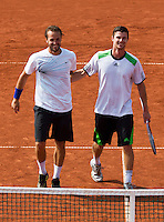 14-07-13, Netherlands, Scheveningen,  Mets, Tennis, Sport1 Open, day seven final, Antal van der Duim and Boy Westerhof(l) winning the doubles<br /> <br /> <br /> Photo: Henk Koster