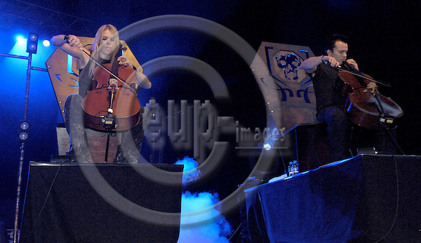 Brussels-Belgium - 01 July 2006---Finnish rock bands MELROSE and APOCALYPTICA set the Grand Place of Brussels under vibrations, to mark the start of the Finnish EU-Presidency; here, Eicca TOPPINEN (le) and Paavo LOTJONEN (ri) of APOCALYPTICA---Photo: Horst Wagner/eup-images