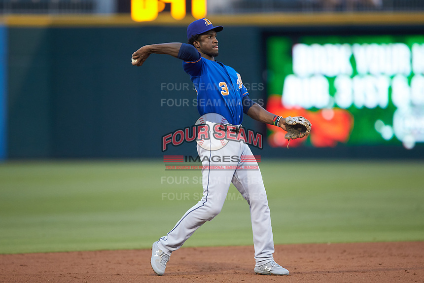 Durham Bulls shortstop Lucius Fox (3) during the game against the Charlotte Knights at BB&T BallPark on July 31, 2019 in Charlotte, North Carolina. The Knights defeated the Bulls 9-6. (Brian Westerholt/Four Seam Images)
