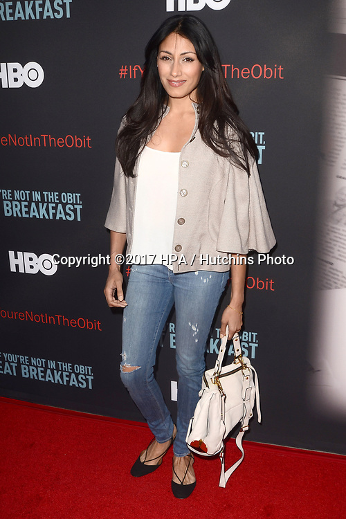 """LOS ANGELES - MAY 17:  Tehmina Sunny at the """"If You're Not In The Obit, Eat Breakfast"""" Premiere at the Samuel Goldwyn Theater on May 17, 2017 in Beverly Hills, CA"""