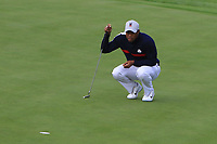 Tiger Woods (Team USA) on the 7th green during Friday Fourball at the Ryder Cup, Le Golf National, Iles-de-France, France. 28/09/2018.<br /> Picture Thos Caffrey / Golffile.ie<br /> <br /> All photo usage must carry mandatory copyright credit (© Golffile | Thos Caffrey)