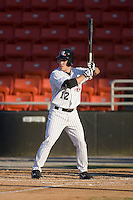 Keanon Simon (12) of the Hickory Crawdads at bat versus the Columbus Catfish at L.P. Frans Stadium in Hickory, NC, Wednesday, May 21, 2008.