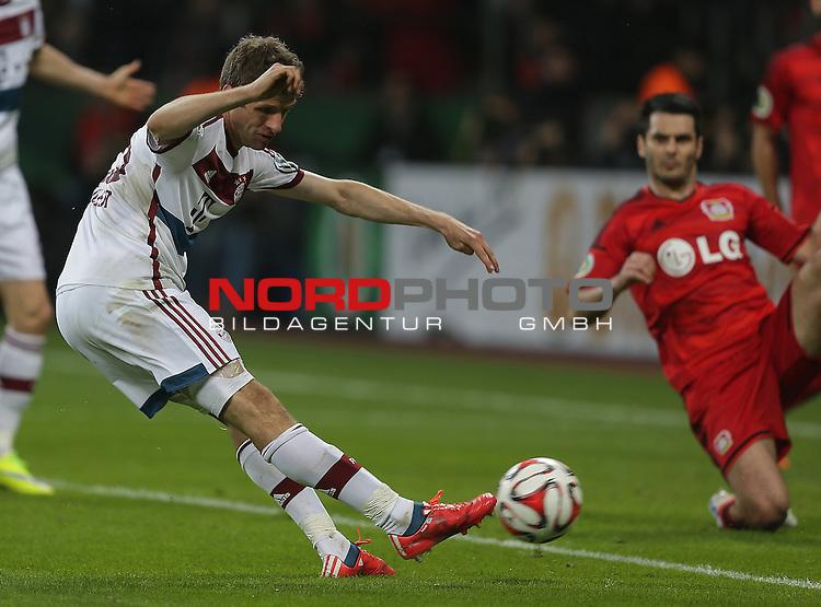 08.04.2015, BayArena, Leverkusen, DFB Pokal, Bayer 04 Leverkusen vs. Bayern M&uuml;nchen<br /> Thomas M&uuml;ller (M&uuml;nchen)<br /> Foto &copy; nordphoto /  Bratic