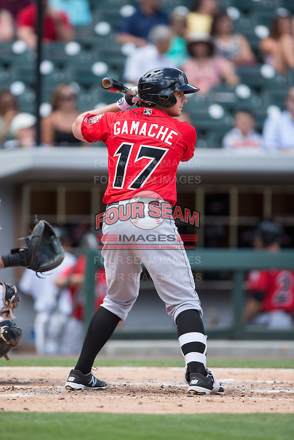Dan Gamache (17) of the Indianapolis Indians at bat against the Charlotte Knights at BB&T BallPark on June 19, 2016 in Charlotte, North Carolina.  The Indians defeated the Knights 6-3.  (Brian Westerholt/Four Seam Images)