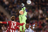 Sporting Kansas City GK Jimmy Nielsen (1) punches the ball clear. Sporting KC defeated CD Chivas USA 3-2 at Home Depot Center stadium in Carson, California on Saturday March 19, 2011...
