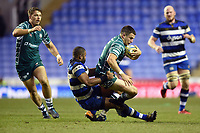Fergus Mulchrone of London Irish is tackled by Aled Brew of Bath Rugby. Aviva Premiership match, between London Irish and Bath Rugby on November 19, 2017 at the Madejski Stadium in Reading, England. Photo by: Patrick Khachfe / Onside Images