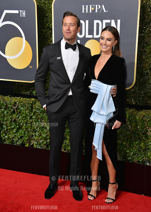 Armie Hammer &amp; Elizabeth Chambers  at the 75th Annual Golden Globe Awards at the Beverly Hilton Hotel, Beverly Hills, USA 07 Jan. 2018<br /> Picture: Paul Smith/Featureflash/SilverHub 0208 004 5359 sales@silverhubmedia.com