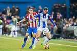 Victor Diaz (r) of Deportivo Leganes vies for the ball with Filipe Luis of Atletico de Madrid during their La Liga match between Atletico de Madrid and Deportivo Leganes at the Vicente Calderón Stadium on 04 February 2017 in Madrid, Spain. Photo by Diego Gonzalez Souto / Power Sport Images