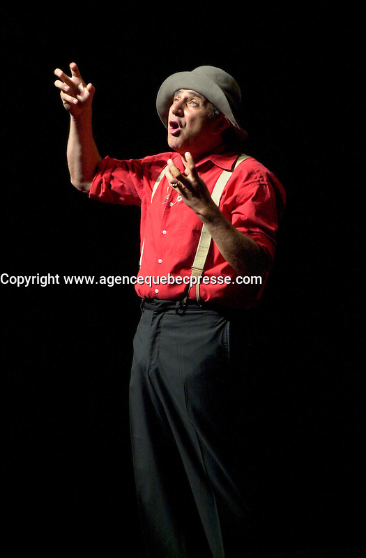 July 14, Montreal, Quebec, Canada<br /> <br /> French comic and actor Michel Boujenah on stage , Jukly 14 2002,<br />  at the Monument national ,in Montreal, Canada,<br /> during  the 20t lJuste Pour Rire Restival, <br /> Mandatory Credit: Photo by Pierre Roussel- Images Distribution. (&copy;) Copyright 2002 by Pierre Roussel <br /> <br /> NOTE : <br />  Nikon D-1 jpeg opened with Qimage icc profile, saved in Adobe 1998 RGB<br /> .Uncompressed  Original  size  file availble on request.