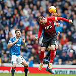 05.05.2018 Rangers v Kilmarnock: David Bates feels the elbow of Kris Boyd