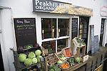Display of organic vegetables outside shop, Saxmundham, Suffolk, England