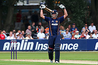 Tom Westley of Essex celebrates his century, 100 runs - Essex Eagles vs Kent Spitfires - NatWest T20 Blast Cricket at Castle Park, Colchester, Essex - 12/07/14 - MANDATORY CREDIT: Gavin Ellis/TGSPHOTO - Self billing applies where appropriate - contact@tgsphoto.co.uk - NO UNPAID USE