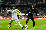 Neymar da Silva Santos Junior, Neymar Jr (R), of Paris Saint Germain fights for the ball with Nacho Fernandez of Real Madrid during the UEFA Champions League 2017-18 Round of 16 (1st leg) match between Real Madrid vs Paris Saint Germain at Estadio Santiago Bernabeu on February 14 2018 in Madrid, Spain. Photo by Diego Souto / Power Sport Images
