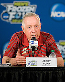 Jerry York (BC - Head Coach) - Representatives of the Boston College Eagles took part in a press conference prior to practice on Friday, April 6, 2012, during the 2012 Frozen Four at the Tampa Bay Times Forum in Tampa, Florida.