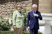 Roma, 22 Giugno 2012.Villa Madama.Vertice quadrilaterale su Eurozona con i leader di Italia, Francia, Germania e spagna.Nella foto, Mario Monti e Angela Merkel.