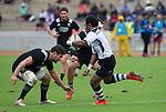 Mitchell Crosswell readies to tackle. Maori All Blacks vs. Fiji. Suva. MAB's won 27-26. July 11, 2015. Photo: Marc Weakley