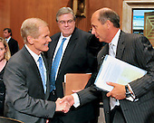 """United States Senator Bill Nelson (Democrat of Florida), left, shakes hands with Tim Probert , President, Global Business Lines; Chief Health, Safety and Environmental Officer, Halliburton, prior to the U.S. Senate Committee on Environment and Public Works hearing entitled """"Economic and Environmental Impacts of the Recent Oil Spill in the Gulf of Mexico""""  in Washington, D.C. on Tuesday, May 11, 2010..Credit: Ron Sachs / CNP"""
