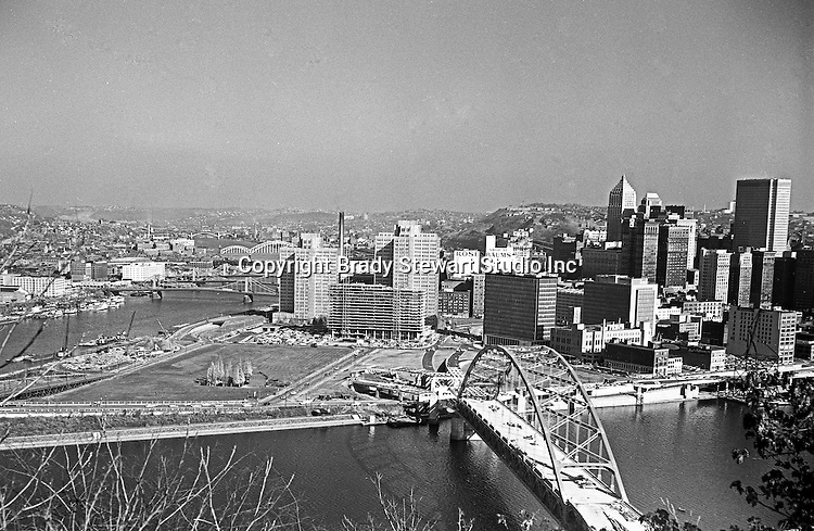 Pittsburgh PA:  View of Hilton Hotel and Fort Pitt Bridge construction from Mount Washington - 1959