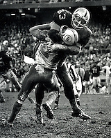 Raider lineman Ben Davidson slams Dolphin QB Bob Griese to the turf. (copyright 1969 Ron Riesterer)