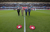 Army cadets deposit wreaths for Armistice Day prior to the Premier League match between Swansea City and Manchester United at The Liberty Stadium, Swansea, Wales, UK. Sunday 06 November 2016