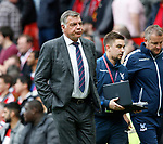 Sam Allardyce manager of Crystal Palace walks off at half time during the English Premier League match at the Old Trafford Stadium, Manchester. Picture date: May 21st 2017. Pic credit should read: Simon Bellis/Sportimage