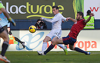 14.12.2013, Pamplona, Spain. La Liga football Osasuna  versus  Real Madrid.    Bale, Real Madrid midfielder, during the game between Osasuna and Real Madrid  from the Estadio de El Sadar.