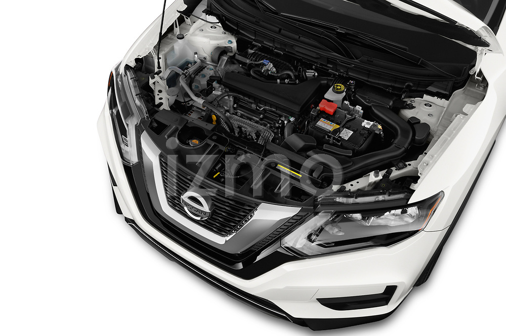 Car Stock 2018 Nissan Rogue S 5 Door SUV Engine  high angle detail view